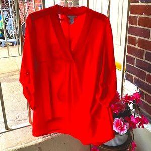 H&M V-Neck 3/4 Sleeve Chiffon Top, Size 12